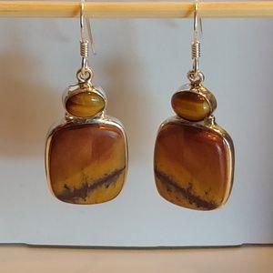 🆕Tiger's Eye & Jasper & 925 Silver Wire Earrings